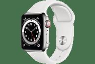 APPLE Watch Series 6 GPS + Cell, 40mm Edelstahl, Sportarmband, Weiß