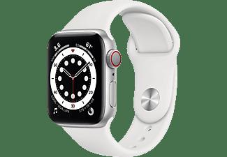 APPLE Watch Series 6 (GPS + Cellular) 40mm Smartwatch Aluminium Fluorelastomer, 130 - 200 mm, Armband: Weiß, Gehäuse: Silber