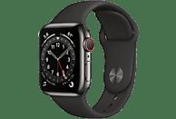 APPLE Watch Series 6 GPS + Cell, 40mm Edelstahl Graphit, Sportarmband, Schwarz