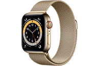 APPLE Watch Series 6 GPS + Cell, 40mm Edelstahl Gold, Milanaisearmband, Gold