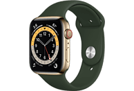 APPLE Watch Series 6 GPS + Cell, 44mm Edelstahl Gold, Sportarmband, Zyperngrün