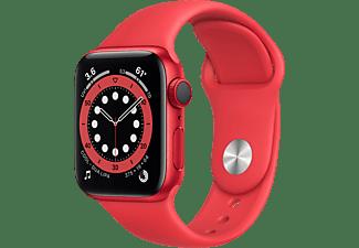 APPLE Watch Series 6 (GPS + Cellular) 40mm Smartwatch Aluminium Fluorelastomer, 130 - 200 mm, Armband: Rot, Gehäuse: Rot
