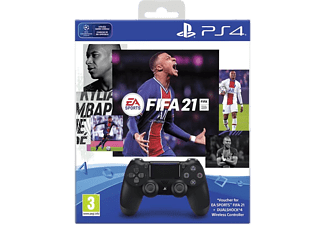 PLAYSTATION Manette Sans fil PS4 Dualshock 4 V2 Noir + Fifa 21 (9838623)