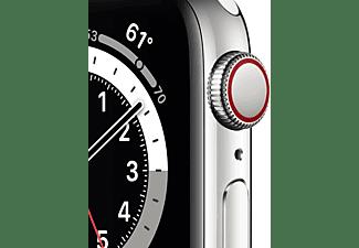 APPLE Watch Series 6 (GPS + Cellular) 40mm Smartwatch Edelstahl Fluorelastomer, 130 - 200 mm, Armband: Weiß, Gehäuse: Silber