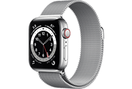 APPLE Watch Series 6 (GPS + Cellular) 40mm Smartwatch Edelstahl Edelstahl, 130 - 180 mm, Armband: Silber, Gehäuse: Silber