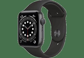 APPLE Watch Series 6 GPS, 40mm Aluminiumgehäuse Spacegrau, Sportarmband, Schwarz