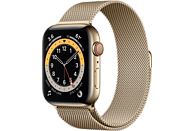 APPLE Watch Series 6 GPS + Cell, 44mm Edelstahl Gold, Milanaisearmband, Gold