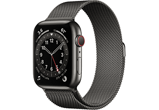 APPLE Watch Series 6 GPS + Cell, 44mm Edelstahl Graphit, Milanaisearmband, Graphit