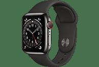 APPLE Watch Series 6 (GPS + Cellular) 40mm Smartwatch Edelstahl Fluorelastomer, 130 - 200 mm, Armband: Schwarz, Gehäuse: Graphit