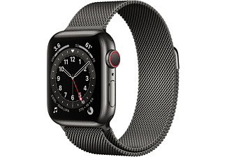 APPLE Watch Series 6 (GPS + Cellular) 40mm Smartwatch Edelstahl Edelstahl, 130 - 180 mm, Armband: Graphit, Gehäuse: Graphit