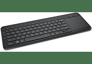 Teclado - Microsoft All in One Media Keyboard, inalámbrico, compatible con TV, panel multitáctil, Negro