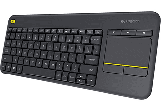 Teclado inalámbrico - Logitech K400 plus, Wireless, Touchpad, Alcance 10m, Negro