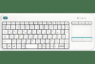 Teclado inalámbrico - Logitech K400 plus, Wireless, Touchpad, Alcance 10m, Blanco