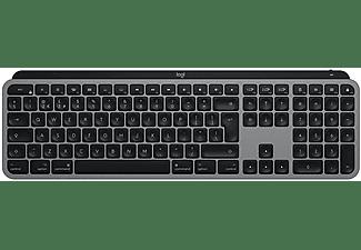 Teclado inalámbrico - Logitech MX Keys, USB-C, Retroiluminado, Para Mac, iPad, Teclas LED, Gris