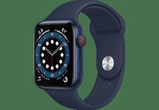 APPLE Watch Series 6 (GPS + Cellular) 44mm Smartwatch Aluminium Fluorelastomer, 140 - 210 mm, Armband: Dunkelmarine, Gehäuse: Blau