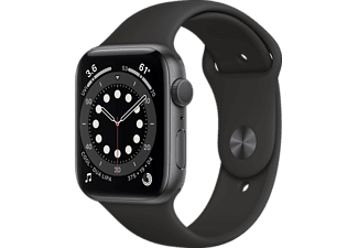 APPLE Watch Series 6 (GPS) 40mm Smartwatch Aluminium Fluorelastomer, 130 - 200 mm, Schwarz