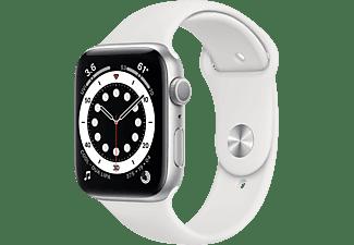 APPLE Watch Series 6 (GPS) 40mm Smartwatch Aluminium Fluorelastomer, 130 - 200 mm, Silber/Weiß