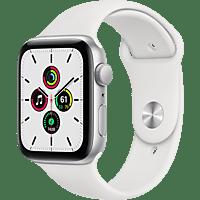 APPLE Watch SE 44mm Smartwatch Fluorelastomer , 140 -220 mm, Silber/Weiß