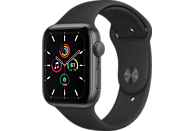 APPLE Watch SE 44mm Smartwatch Fluorelastomer , 140 -220 mm, Space Grau/Schwarz