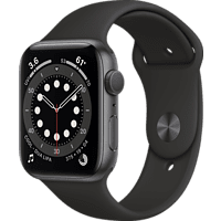 APPLE Watch Series 6 (GPS), 44 mm Aluminiumgehäuse Space Grau, Sportarmband Schwarz Smartwatch Aluminium Fluorelastomer, 140 - 220 mm, Schwarz/Space Grau