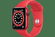 APPLE Watch Series 6 (GPS + Cellular) 44mm Smartwatch Aluminium Fluorelastomer, 140 - 210 mm, Armband: Rot, Gehäuse: Rot