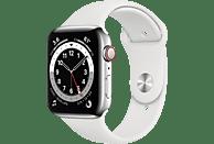 APPLE Watch Series 6 (GPS + Cellular) 44mm Smartwatch Edelstahl Fluorelastomer, 140 - 210 mm, Armband: Weiß, Gehäuse: Silber