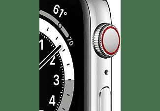 APPLE Watch Series 6 (GPS + Cellular) 44mm Smartwatch Edelstahl Edelstahl, 150 - 200 mm, Armband: Silber, Gehäuse: Silber