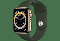 APPLE Watch Series 6 (GPS + Cellular) 44mm Smartwatch Edelstahl Fluorelastomer, 140 - 210 mm, Armband: Zyperngrün, Gehäuse: Gold