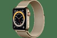 APPLE Watch Series 6 (GPS + Cellular) 44mm Smartwatch Edelstahl Edelstahl, 150 - 200 mm, Armband: Gold, Gehäuse: Gold