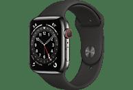 APPLE Watch Series 6 (GPS + Cellular) 44mm Smartwatch Edelstahl Fluorelastomer, 140 - 210 mm, Armband: Schwarz, Gehäuse: Graphit