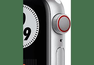 APPLE Watch Series 6 Nike (GPS + Cellular) 40mm Smartwatch Fluorelastomer, 130 - 190 mm, Silber/Schwarz