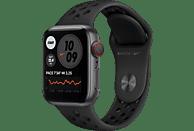 APPLE Watch Series 6 Nike (GPS + Cellular) 40mm Smartwatch Fluorelastomer, 130 - 190 mm, Space Grau/Schwarz