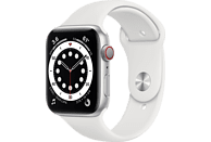 APPLE Watch Series 6 (GPS + Cellular) 44mm Smartwatch Aluminium Fluorelastomer, 140 - 210 mm, Armband: Weiß, Gehäuse: Silber