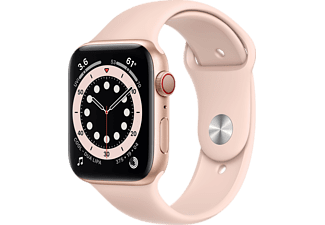 APPLE Watch Series 6 (GPS + Cellular) 44mm Smartwatch Aluminium Fluorelastomer, 140 - 210 mm, Armband: Pink Sand, Gehäuse: Gold