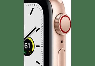 APPLE Watch SE (GPS + Cellular) 40mm Smartwatch Aluminium Fluorelastomer, 130 - 200 mm, Armband: Pink Sand, Gehäuse: Gold