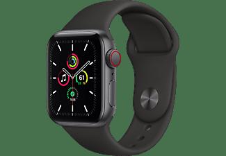 APPLE Watch SE (GPS + Cellular) 40mm Smartwatch Aluminium Fluorelastomer, 130 - 200 mm, Armband: Schwarz, Gehäuse: Space Grau