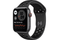 APPLE Watch SE Nike (GPS + Cellular) 44mm Smartwatch Fluorelastomer, 140 - 220 mm, Space Grau/Schwarz
