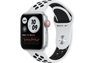 APPLE Watch SE Nike (GPS + Cellular) 44mm Smartwatch Fluorelastomer, 140 - 220 mm, Silber/Schwarz