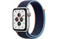 APPLE Watch SE (GPS + Cellular) 44mm Smartwatch Aluminium Nylon, 145 - 220 mm, Armband: Dunkelmarine, Gehäuse: Silber