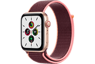 APPLE Watch SE (GPS + Cellular) 44mm Smartwatch Aluminium Nylon, 145 - 220 mm, Armband: Pflaume, Gehäuse: Gold