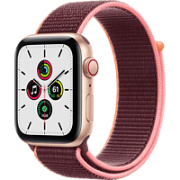 APPLE Watch SE (GPS + Cellular) 44mm Smartwatch Aluminium Nylon, 145 - 220 mm, Armband: Pflaume, Gehäuse: Gold