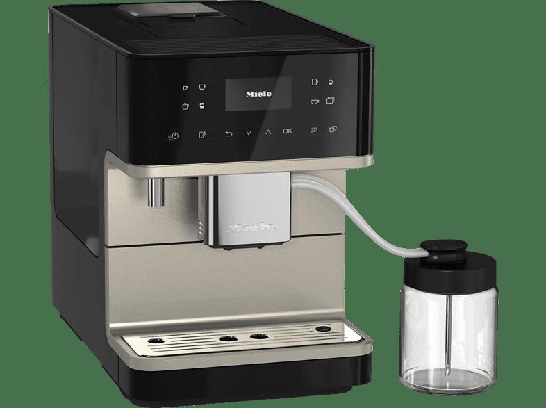 MIELE CM 6360 MilkPerfection Kaffeevollautomat in Obsidianschwarz CleanSteelMetallic