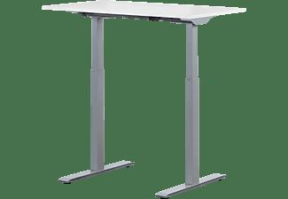 WRK21 100x60 cm elektronisch höhenverstellbarer Steh-Sitz Schreibtisch, Tischgestell: Grau Tischplatte: Weiß