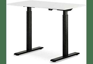 WRK21 100x60 cm elektronisch höhenverstellbarer Steh-Sitz Schreibtisch, Tischgestell: Schwarz Tischplatte: Weiß