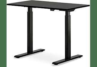 WRK21 100x60 cm elektronisch höhenverstellbarer Steh-Sitz Schreibtisch, Tischgestell: Schwarz Tischplatte: Schwarz