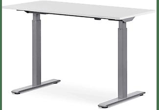 WRK21 120x60 cm elektronisch höhenverstellbarer Steh-Sitz Schreibtisch, Tischgestell: Grau Tischplatte: Weiß