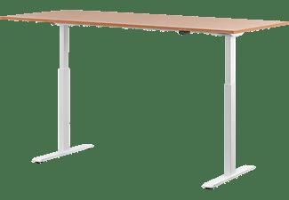 WRK21 180x80 cm elektronisch höhenverstellbarer Steh-Sitz Schreibtisch, Tischgestell: Weiß Tischplatte: Buche
