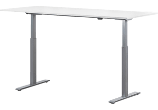 WRK21 180x80 cm elektronisch höhenverstellbarer Steh-Sitz Schreibtisch, Tischgestell: Grau Tischplatte: Weiß