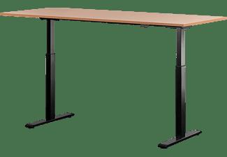 WRK21 180x80 cm elektronisch höhenverstellbarer Steh-Sitz Schreibtisch, Tischgestell: Schwarz Tischplatte: Buche