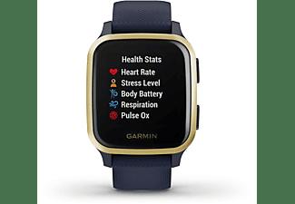 GARMIN Venu SQ Music Smartwatch Polymer Silikon, -, Dunkelblau/Gold